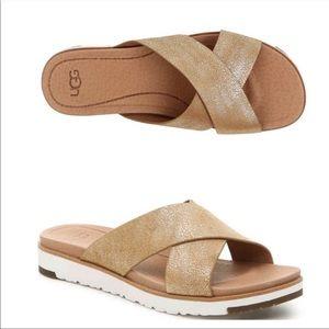 UGG Kari Metallic Soft Leather Criss Cross Sandal